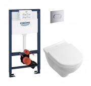 Seinä-WC -paketti Villeroy & Boch + Grohe